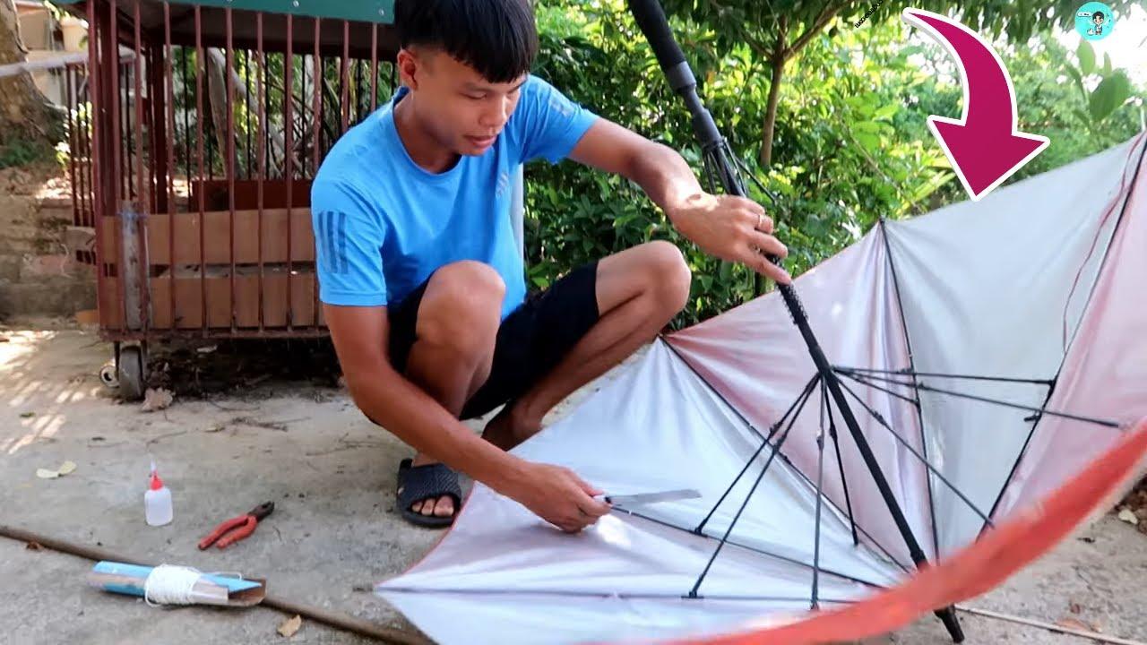 Chế tạo cung tên bắn cá từ cái ô hỏng (Making bows and arrows from waste) Lạ Vlog