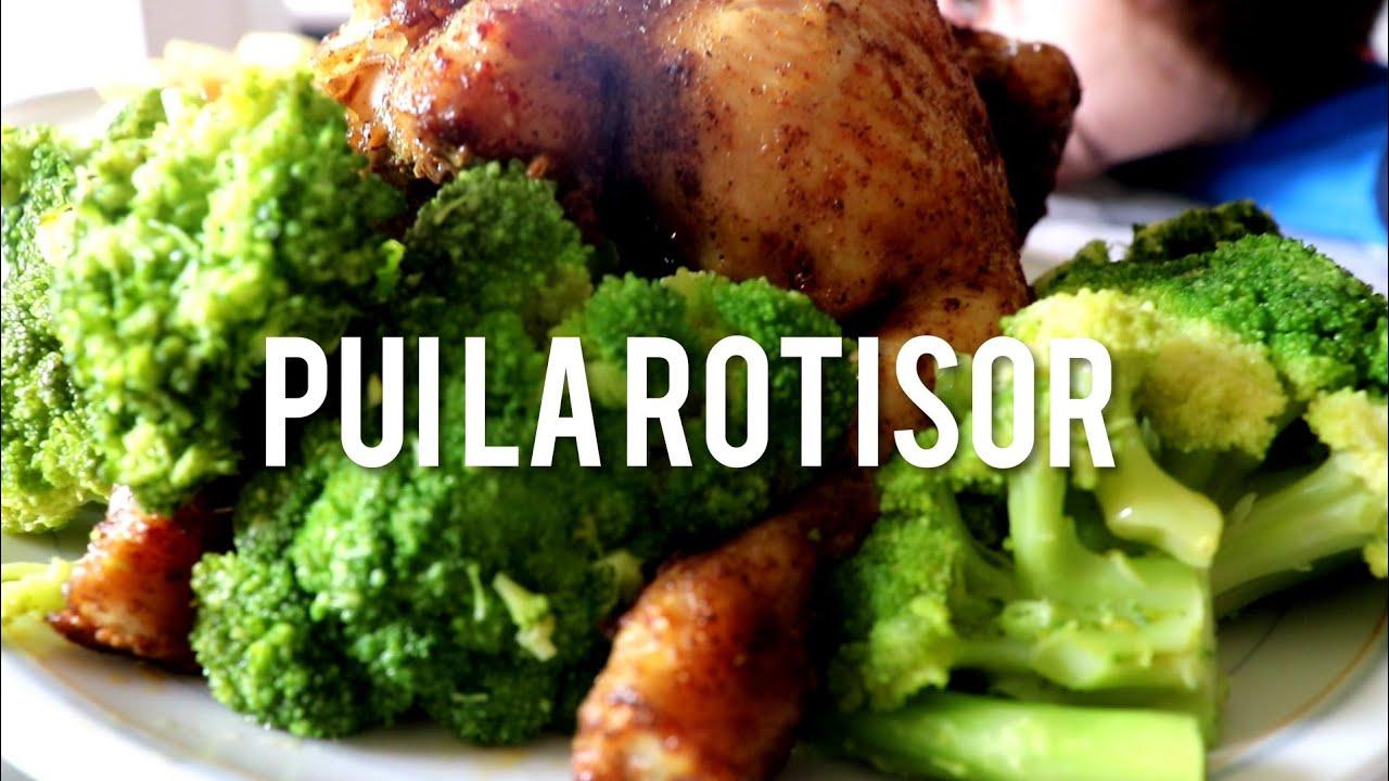 Pui la rotisor, garnitura de brócoli și cartofi