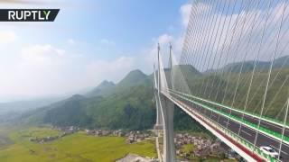 طائرة بدون طيار تصور جسرا عملاقا جديدا تم افتتاحه في الصين