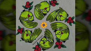 Easy rangoli designs...parrots...cute and creative...5 to 3 dots