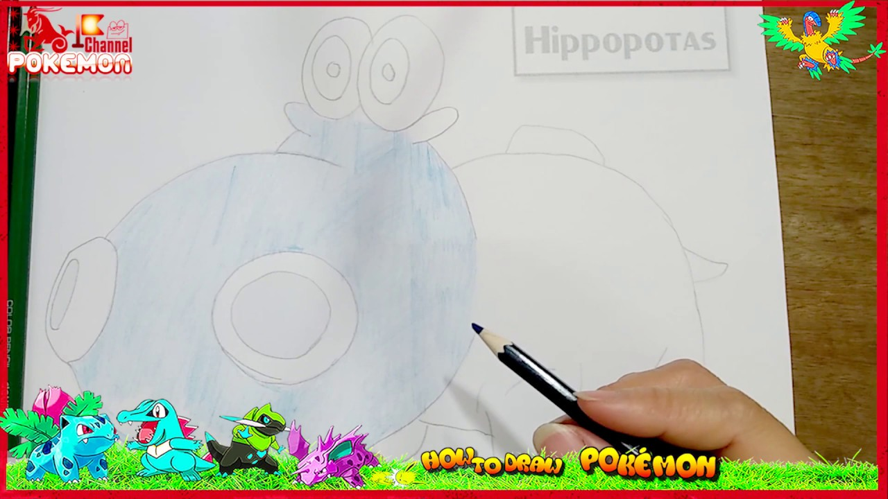 Learn How To Draw Hippopotas For Kids Coloring Book And Drawing Pokemon With LiLy