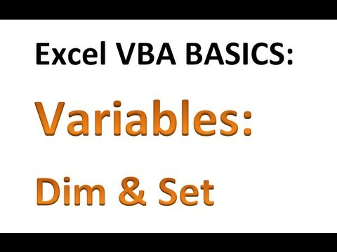 Excel VBA Basics #9 - Declaring variables with DIM and using SET to ...