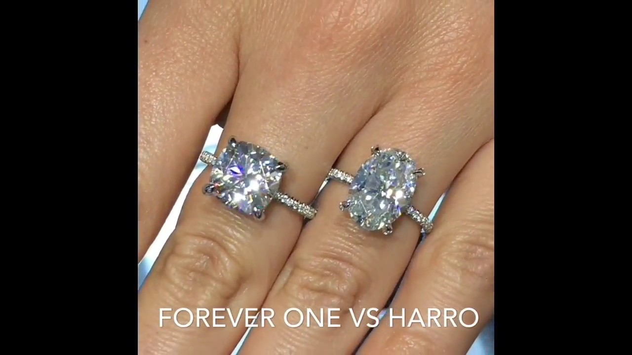 5 carat Cushion and Oval Moissanite Engagement Rings  YouTube