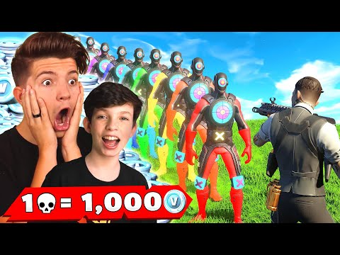 1 Elimination = 1,000 VBucks With My Little Brother! (Fortnite Chapter 2)