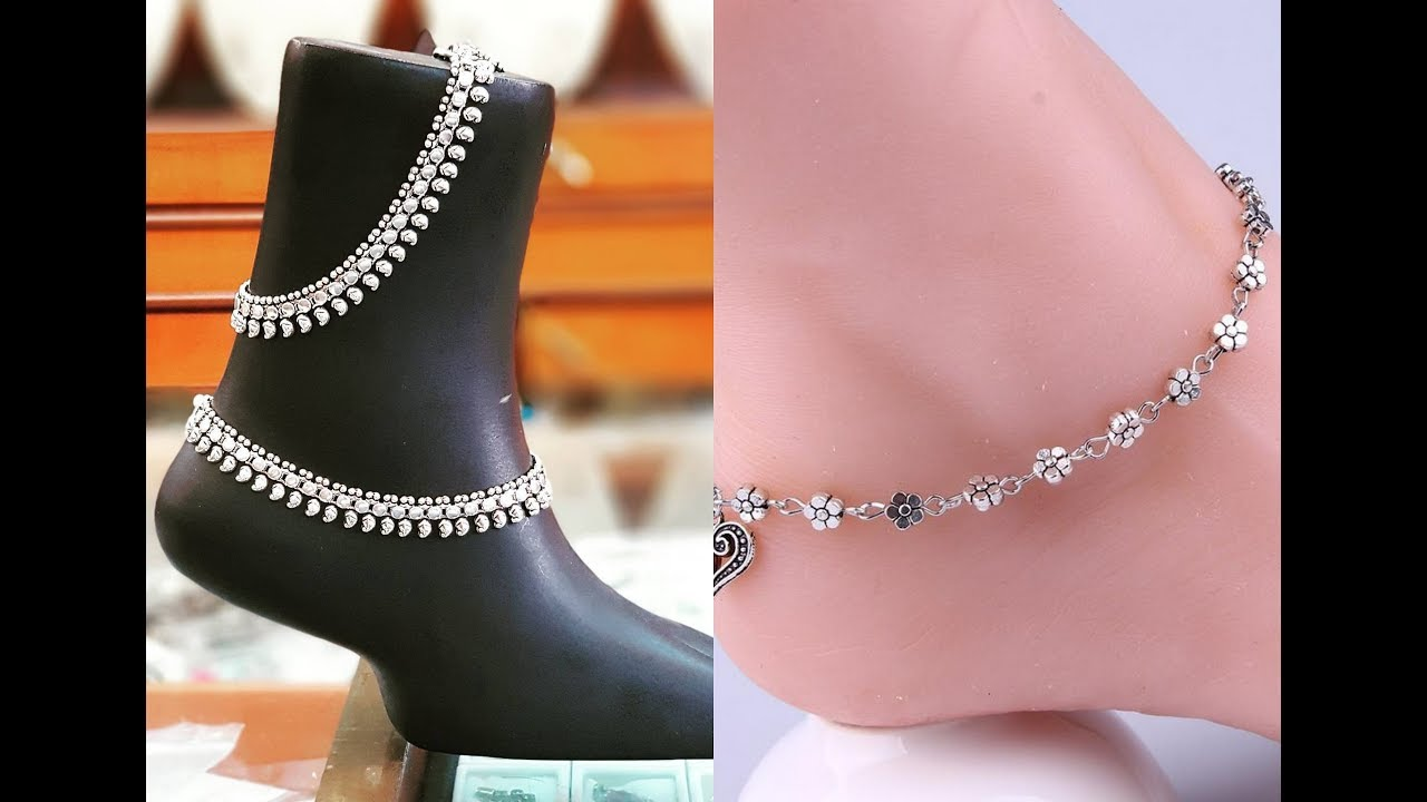 anklet designs in silver /anklet for women and girls /anklet payal ...