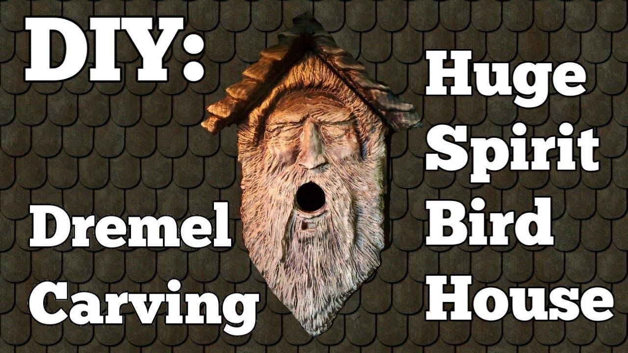 DIY at home. Dremel wood carving. Carving the biggest Spirit birdhouse with dremel flex shaft.