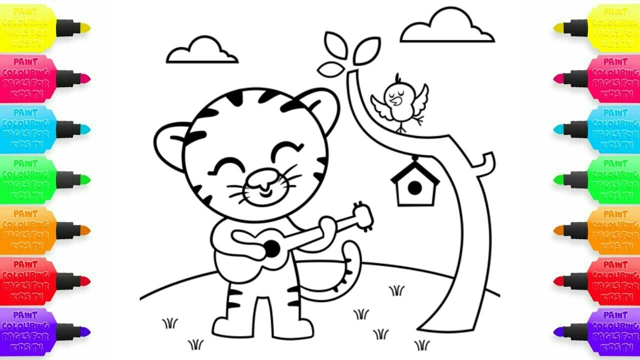 how to draw and coloring cat with guitar coloring pages for kids