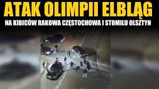Atak Olimpii Elbląg na kibiców Rakowa i Stomilu przed meczem w Pucharze Polski