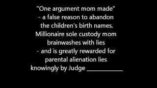 parental alienation 3 female Brainwashing Children with Lies as Reason to abandon their Birthnames