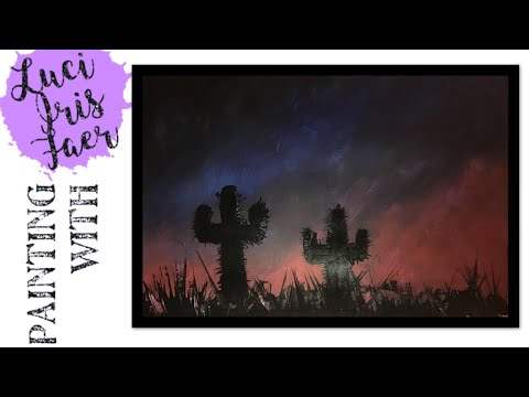 Painting with Acrylics – How to Paint a Desert Sunset Landscape