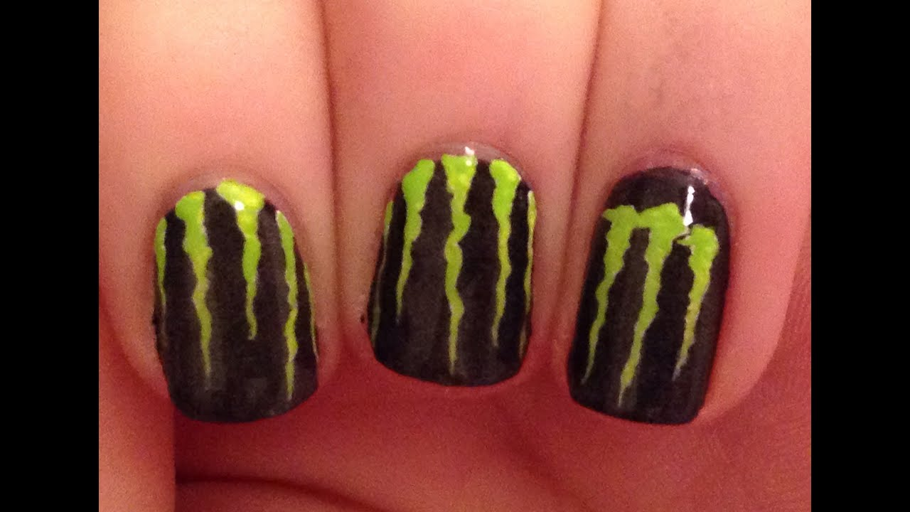Monster Energy (GLOWING) Nail Art Tutorial - YouTube