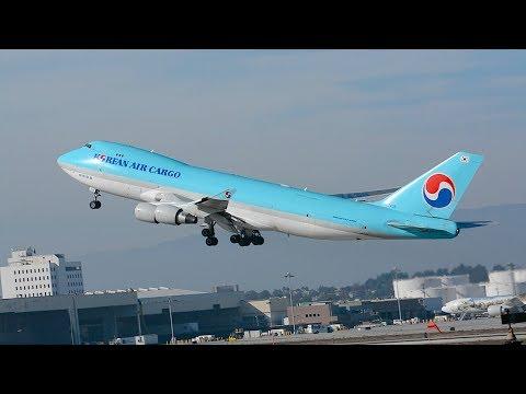 Korean Air Cargo Boeing 747-400/ERF [HL7438] Departing LAX