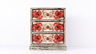 "Create A Chest Of Drawers ""scarlet Rose"" In Decoupage Technique."