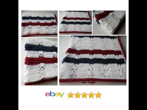 Baby Afghan Or Lapghan Red White And Blue Handmade Youtube