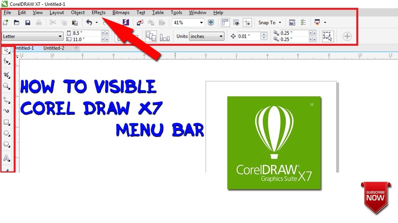 How To Visible Corel Draw X7 Menu Bar Hindi Urdu Youtube Coreldraw