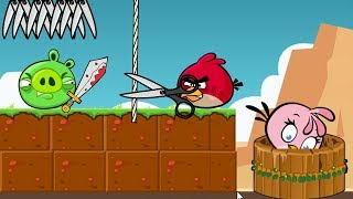 Angry Birds Take A Shower 2 - TAKE SHOWER BY CUTTING ROPE TO TRAP PIGGIES!