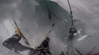 Helmet Cam Captures Skier Falling Into Glacial Crevasse