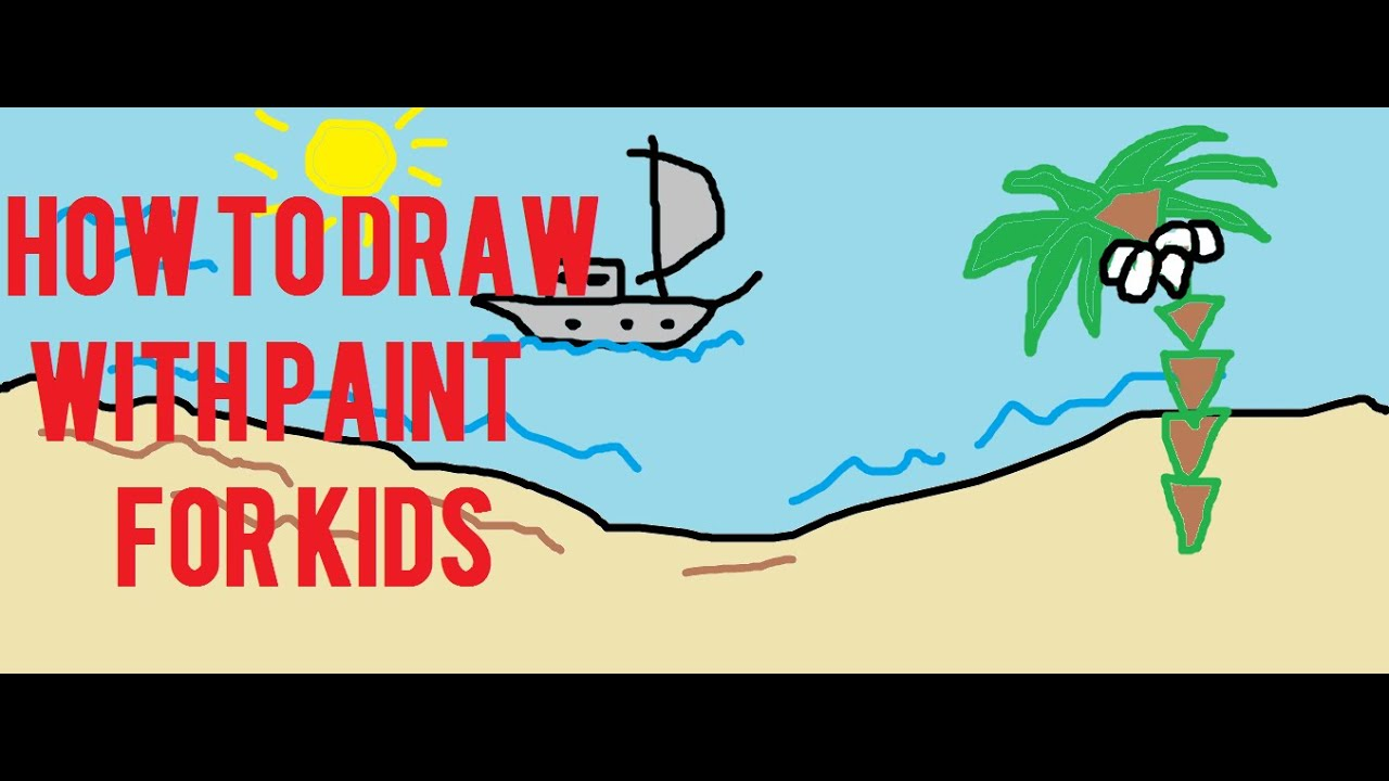 How to Draw a Beach Ship Boat with paint for kids play time  YouTube