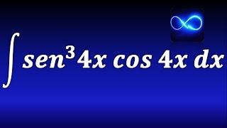 148. Integral de seno al cubo de 4x por cos 4x (Completando derivada, v^n dv) EJERCICIO RESUELTO