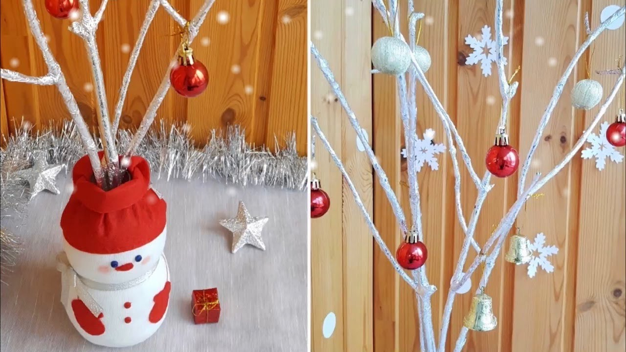 How To Make Snowman Vase And Silver Twigs Christmas Decoration Diy