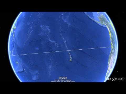 La «línea recta» más larga sobre el globo terráqueo que va de tierra-a-tierra