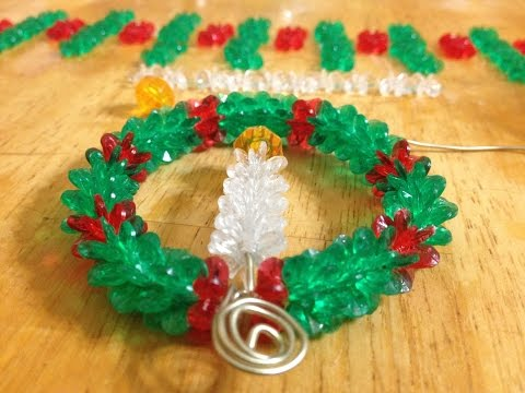 Simple Cranberry Wreath with Candle Decoration Out Of Beads for your Christmas Tree