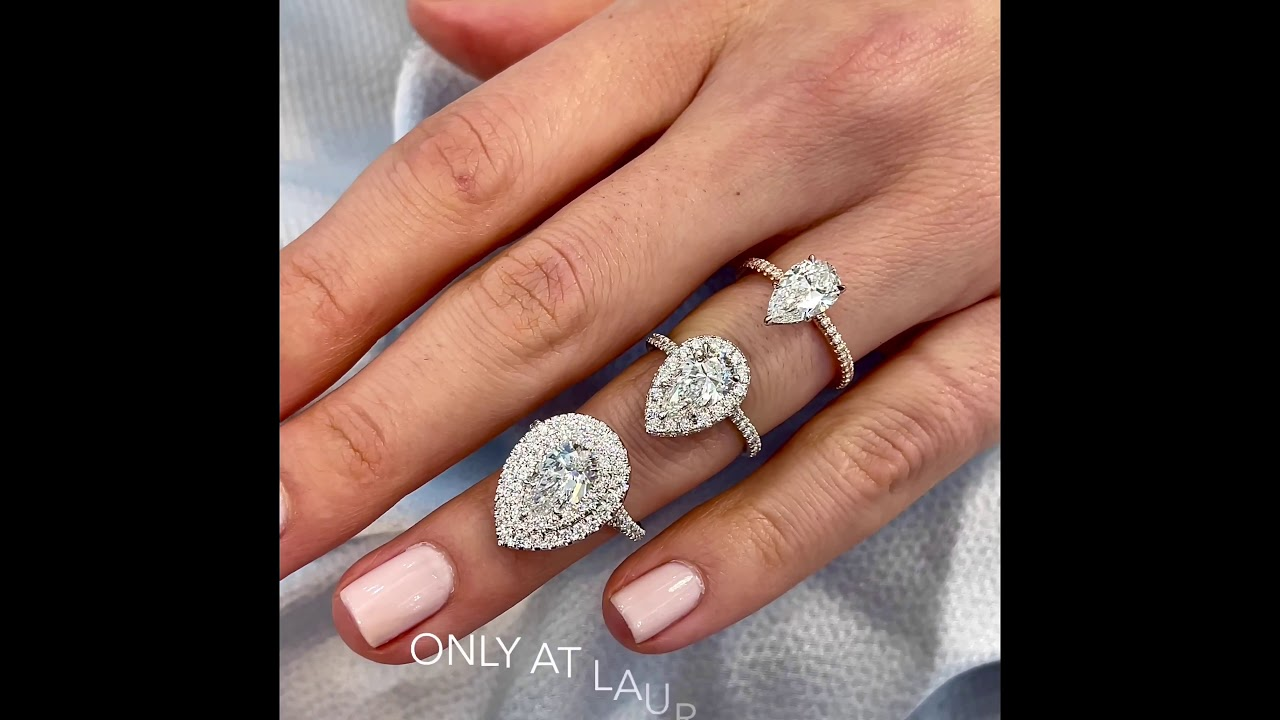 Pear Shape Ring Comparison: No-Halo VS Halo VS Double Halo