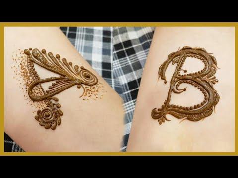 1c558884b A and B alphabet henna design tattoo | heena vahid - YouTube
