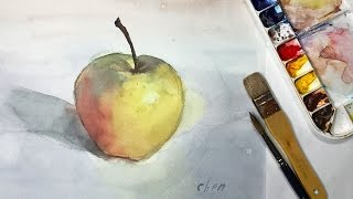 Watercolor Painting of a Yellow Apple by Yong Chen, Part 2