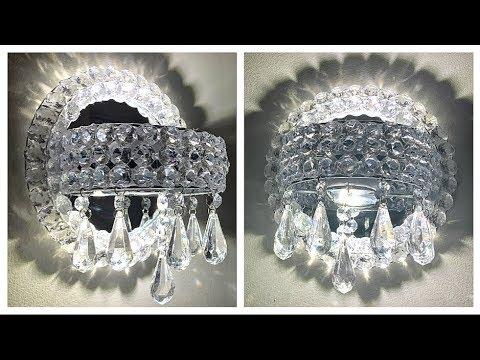 $5 Dollar Tree Diy Glam Crystal Wall Sconces | Wall Decor | Bathroom Decor
