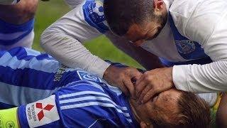 ディナモ・キエフの選手が顔にひざ蹴り受け失神・・・救ったのは対戦相手