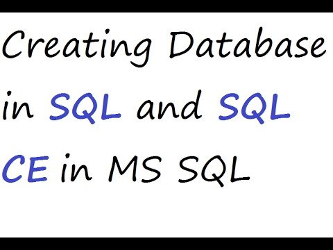 SQL and SQL CE Database Creating