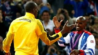 Mo Farah and Usain Bolt swap poses after Team GB