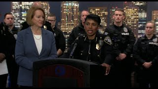 Seattle Mayor Jenny A. Durkan and Police Chief Carmen Best announce extra holiday safety patrols