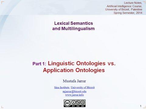 Jarrar: Lexical Semantics and Multilingualism (Part 1/5)
