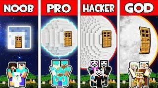 Minecraft - NOOB vs PRO vs HACKER vs GOD : FAMILY SECRET MOON BLOCK HOUSE in Minecraft Animation