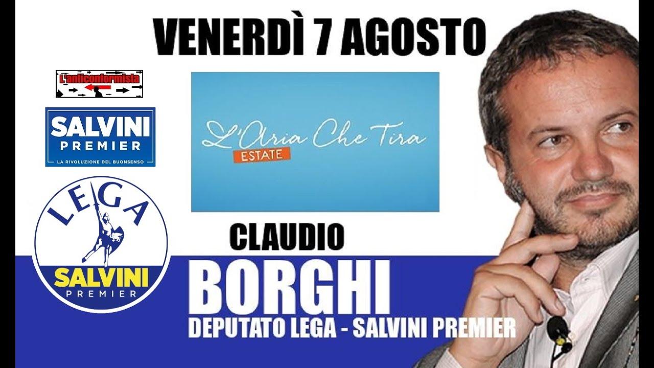 """🔴 Interventi dell'On. Claudio Borghi a """"L'aria che tira"""" del 07/08/2020."""