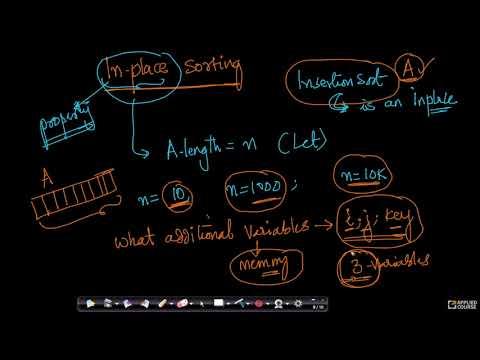 Insertion sort: In-place sorting -Algorithms GATE CS