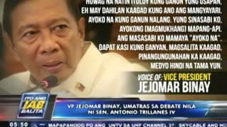 VP Binay, umatras sa debate nila ni Sen. Trillanes