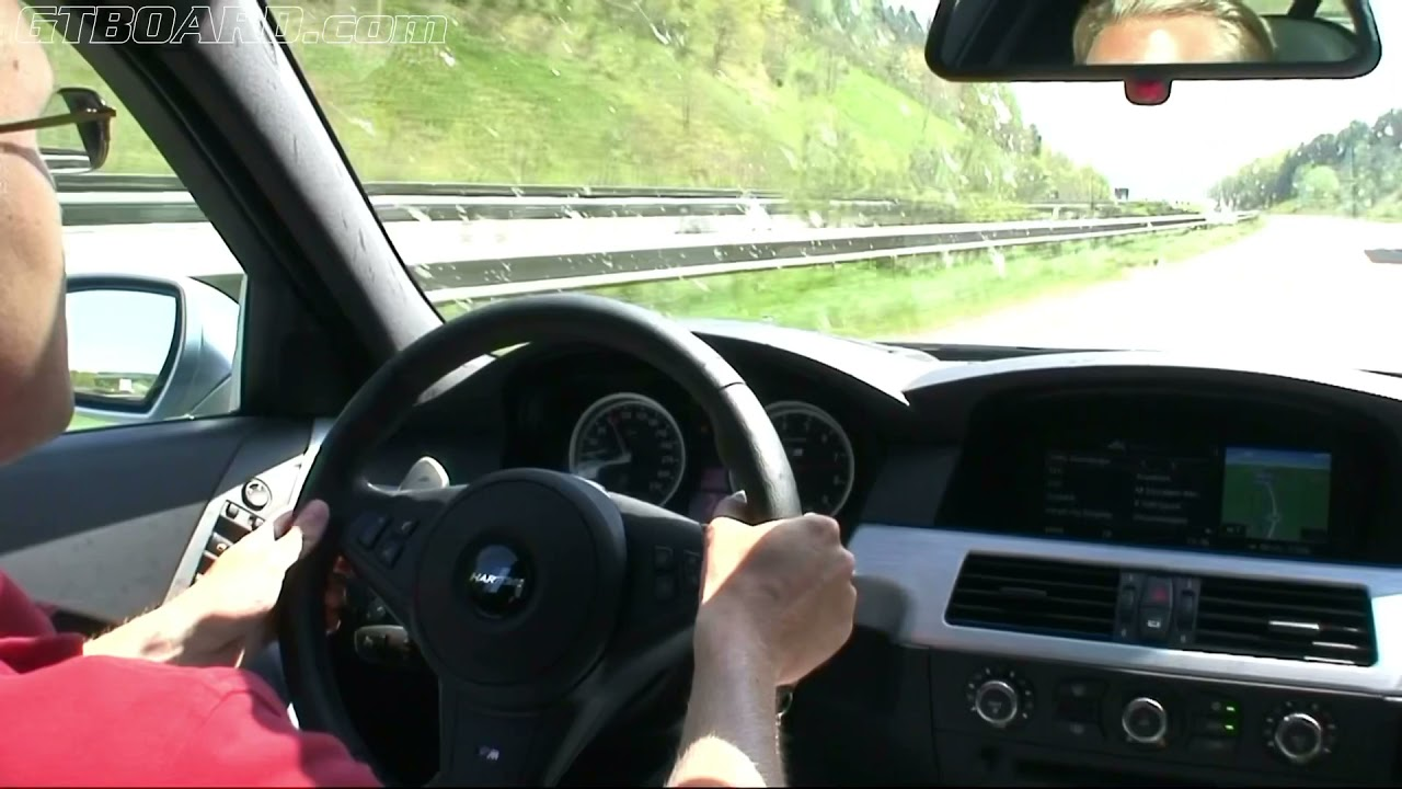 Brutal V10 pushing it hard on German Autobahn in a Hartge BMW M5 V10 (speedometer zoomed in)