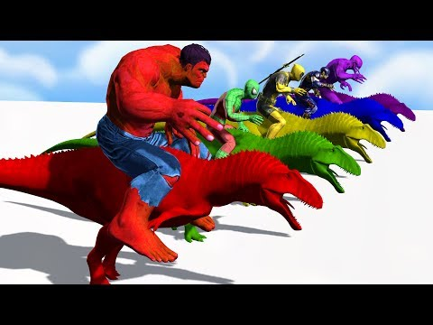 Thumbnail: Colors Spiderman Riding Dinosaur Colours Supper Heroes For Kids - Learn Colors For Children toddlers