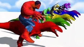 Colors Spiderman Riding Dinosaur Colours Supper Heroes For Kids - Learn Colors For Children toddlers