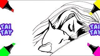 Спящая КОШКА и Девушка #рисункидлясрисовки