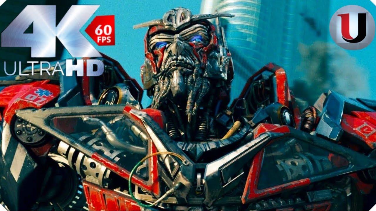 Transformers 3 Dark Of The Moon Optimus Prime Vs Sentinel Prime Megatron Scene 4K