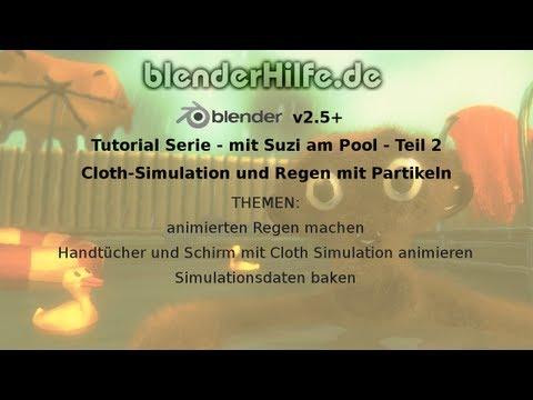 Blender 3D Tutorial - Suzi am Pool - TEIL2 - Cloth-Simulation und Regen (deutsch)