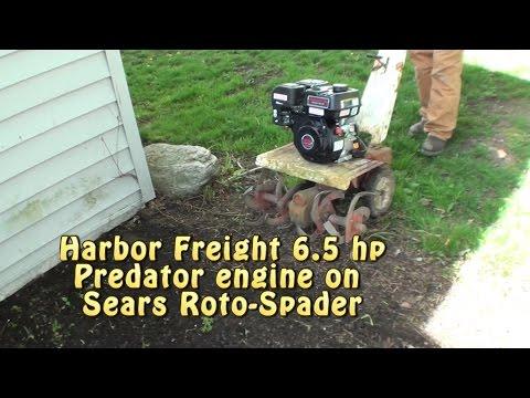 $120 HF Predator 6.5HP engine on Sears Roto-Spader. BAD AZZ!!