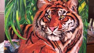 Этапы рисования  Тигр на камне  Картина маслом