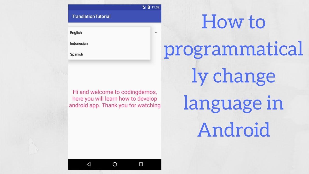 Android change language programmatically tutorial - Coding Demos