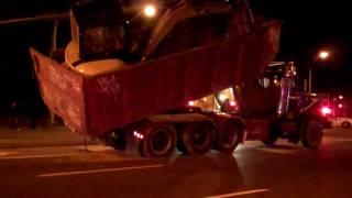 Dump Truck Stuck On Overpass