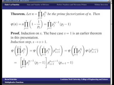 LSU   Number Theory   Lecture 18 multiplicative functions